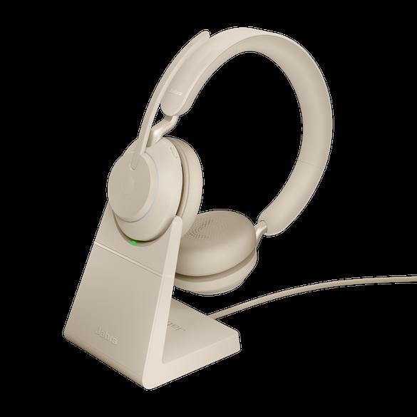 *Jabra Evolve2 65 UC Stereo BT USB-A Headset inkl. Ladestation beige
