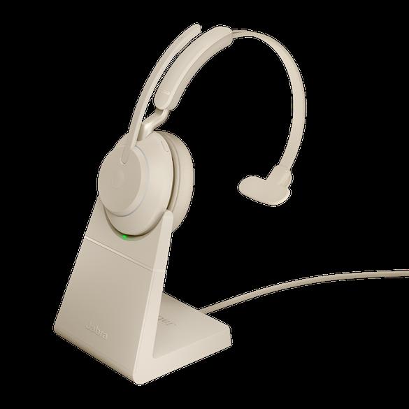 *Jabra Evolve2 65 UC Mono BT USB-C Headset inkl. Ladestation beige
