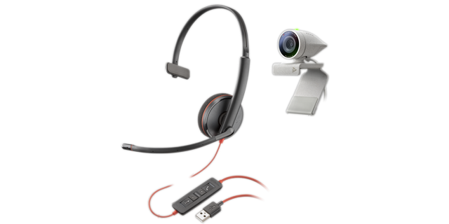 Poly Studio P5 USB HD Webcam Bundle mit Blackwire C3210 Headset