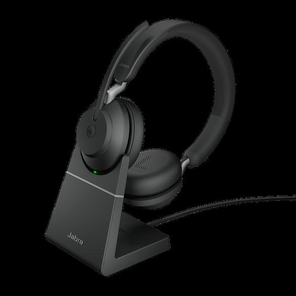 Jabra Evolve2 65 MS Stereo BT USB-A Headset inkl. Ladestation schwarz